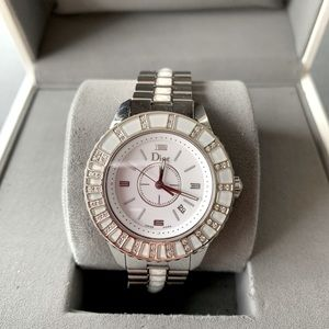 Christian Dior crystal & white sapphire watch